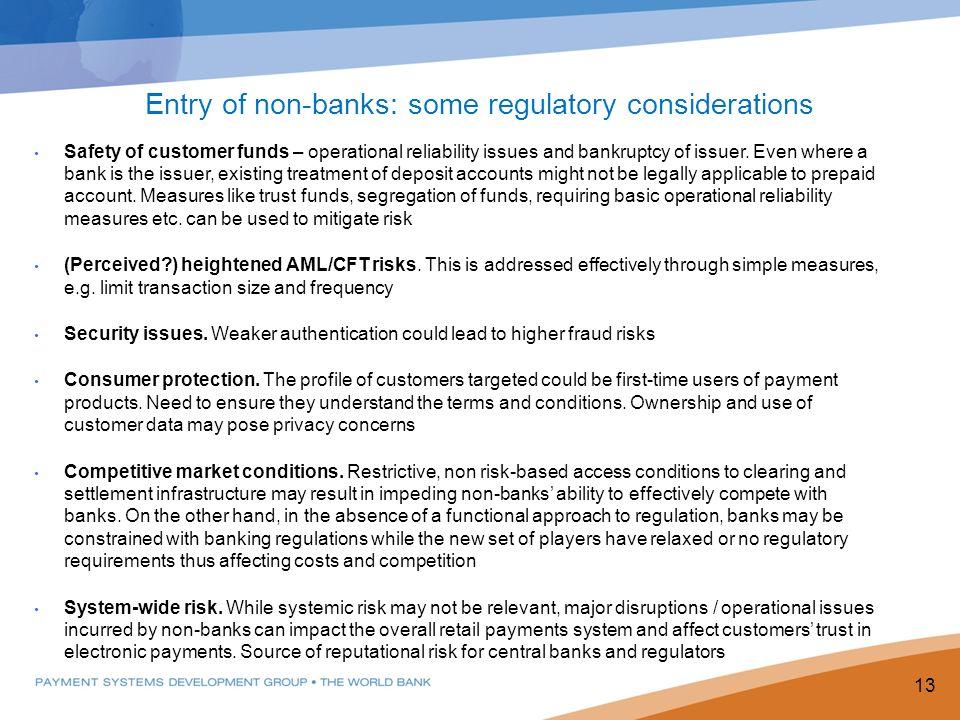 Safety of customer funds – operational reliability issues and bankruptcy of issuer.