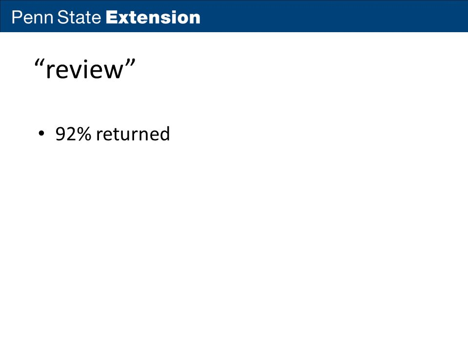 """review"" 92% returned"