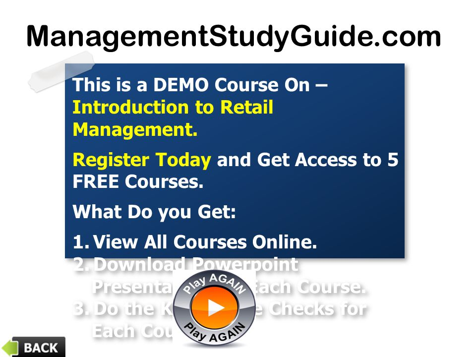 This is a DEMO Course On – Introduction to Retail Management. Register Today and Get Access to 5 FREE Courses. What Do you Get: 1.View All Courses Onl