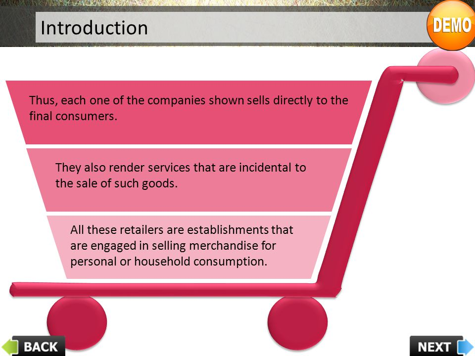 Components of Retailing Concept Customer Orientation Coordinated Effort Value-driven Goal Oriented Retailing Concept One of the key components of the retailing concept is 'customer orientation'.