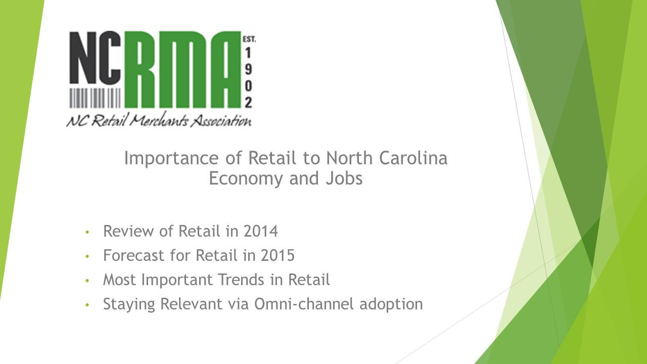 1 in 4 jobs in NC is in Retail (stores, distribution centers, and headquarter locations) Retail is the largest private employer in NC Retail offers millions the opportunity to work while pursuing a degree, or raising a family 80% of college students work while in college, the majority of them work in retail