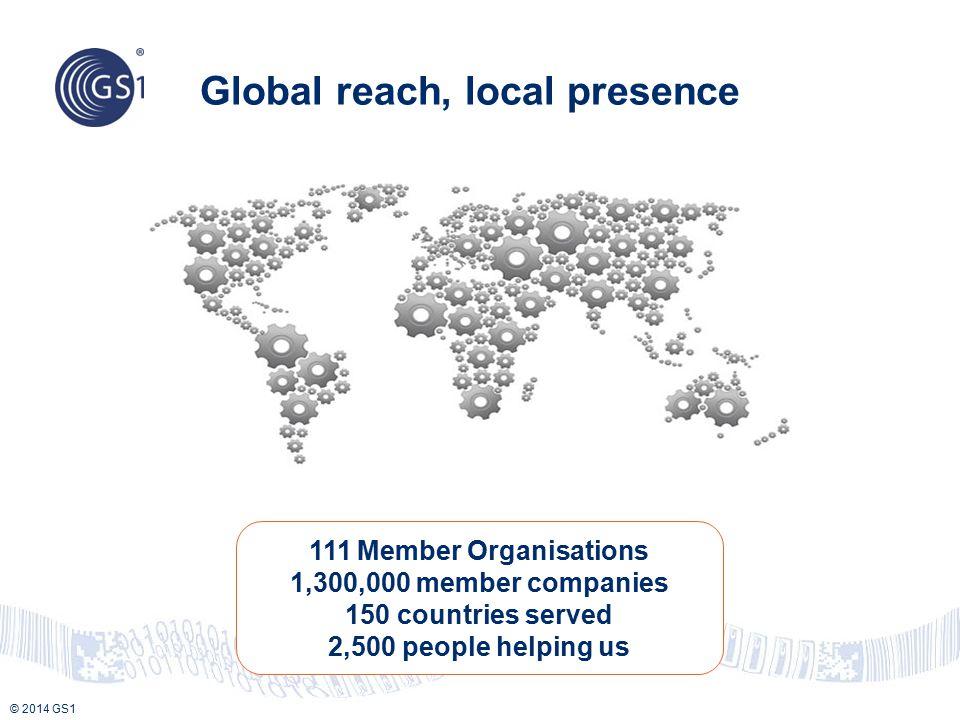 © 2014 GS1 Global reach, local presence 111 Member Organisations 1,300,000 member companies 150 countries served 2,500 people helping us