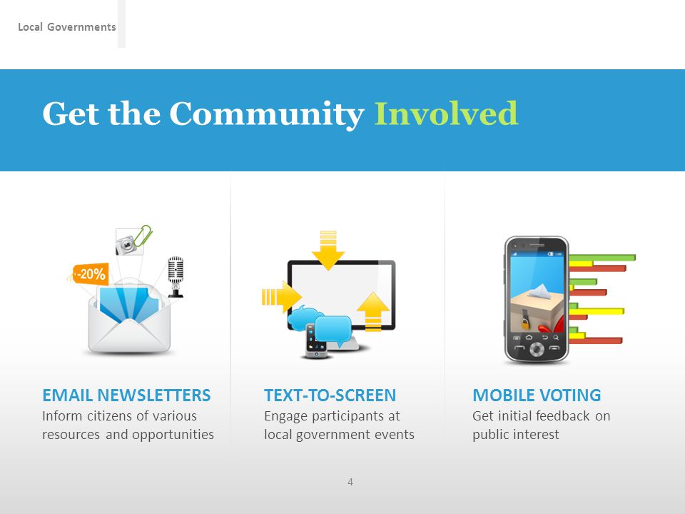 Local Governments Get the Community Involved TEXT-TO-SCREEN Engage participants at local government events MOBILE VOTING Get initial feedback on public interest EMAIL NEWSLETTERS Inform citizens of various resources and opportunities 4