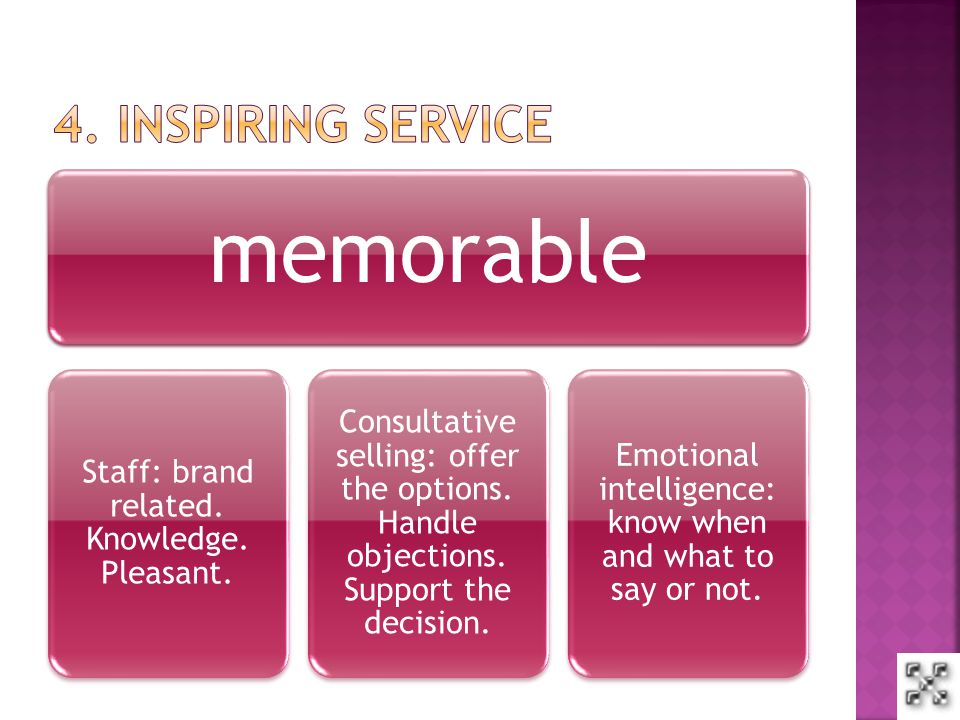 memorable Staff: brand related.Knowledge. Pleasant.