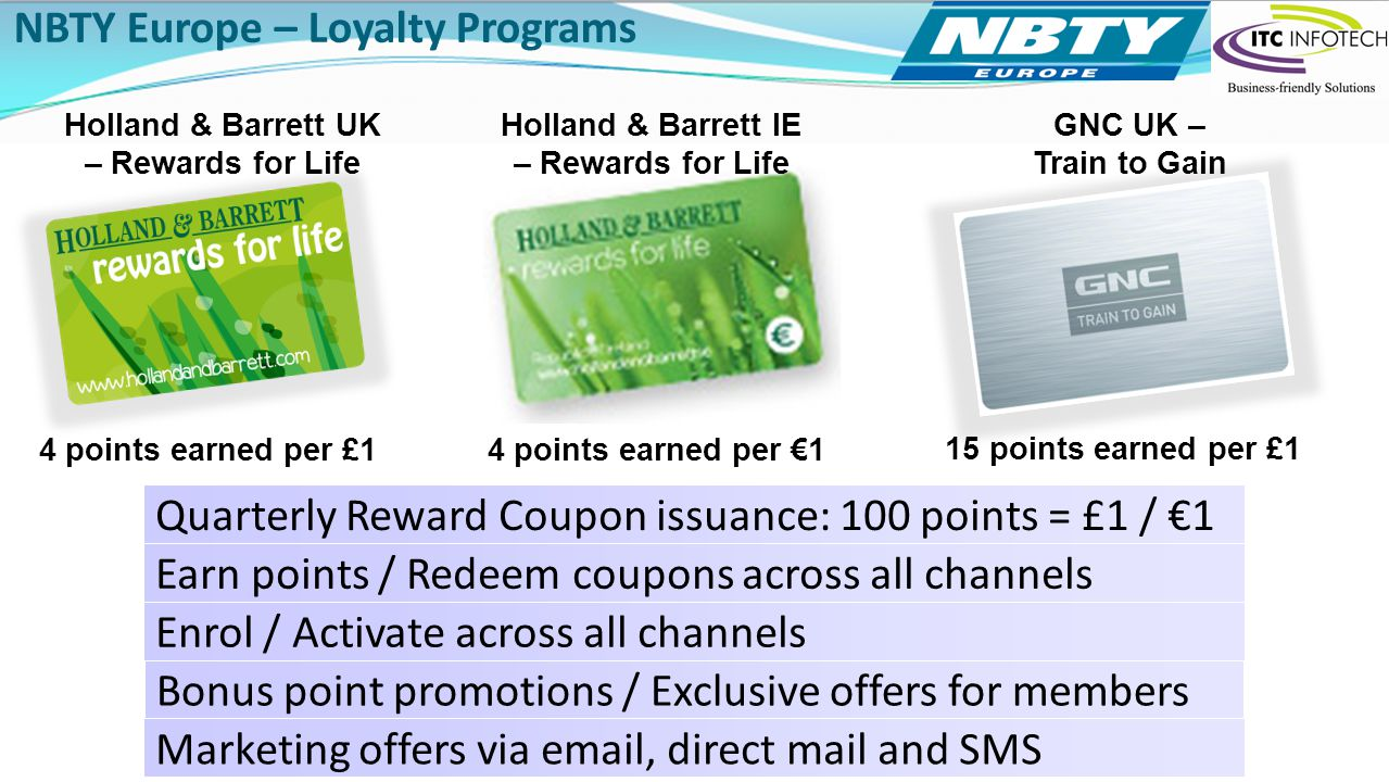 Click to add text NBTY Europe – Loyalty Programs Holland & Barrett UK – Rewards for Life GNC UK – Train to Gain Holland & Barrett IE – Rewards for Lif