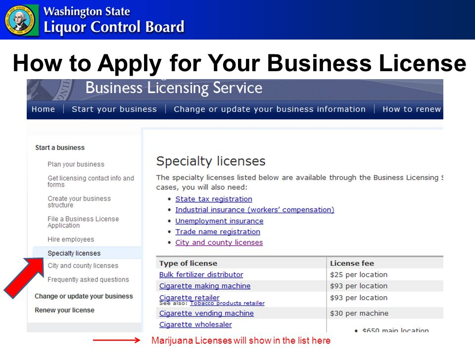 How to Apply for Your Business License Marijuana Licenses will show in the list here