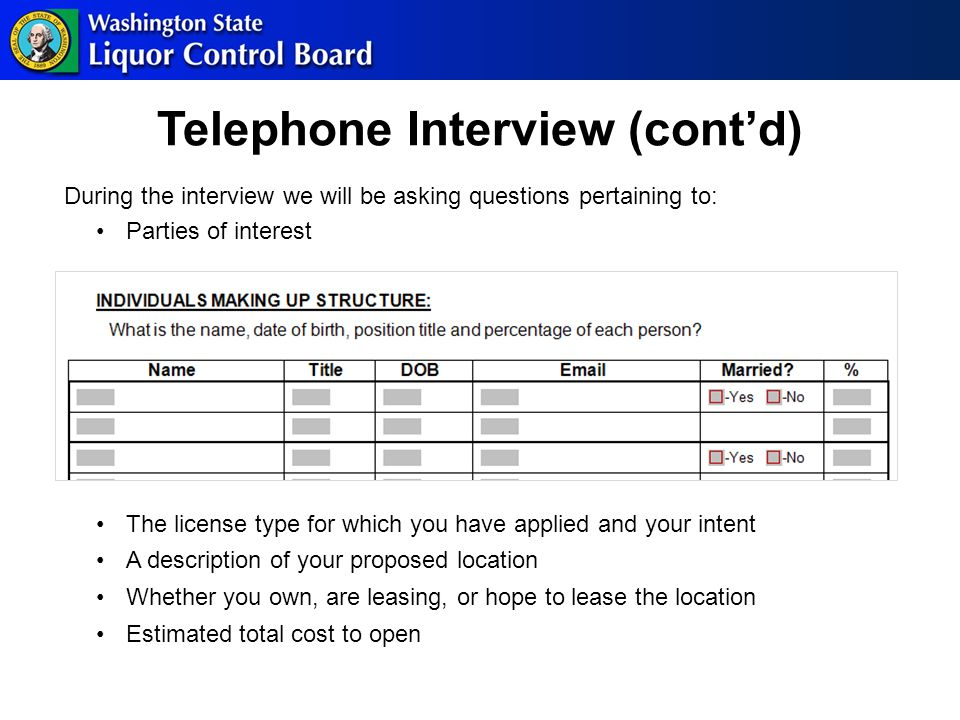 Telephone Interview (cont'd) During the interview we will be asking questions pertaining to: Parties of interest The license type for which you have applied and your intent A description of your proposed location Whether you own, are leasing, or hope to lease the location Estimated total cost to open