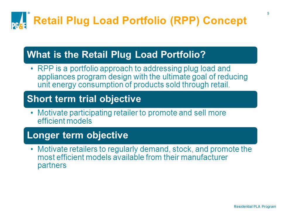 Residential PLA Program 5 Retail Plug Load Portfolio (RPP) Concept