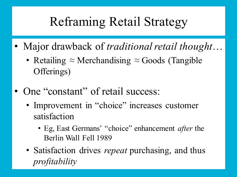 Marketing With & Long-term Relationships To Many-to-Many … Service-Dominant-Logic marketing (i.e., Marketing With) Recognizes that all stakeholders can be proactive, both positively & negatively, in affecting retailer success (i.e., operant resources) Views customers, and more broadly all the retailer's stakeholders, as central to the retailer's long-term success The remaining marketing- and retail-mix variables are only important to the extent that they help to better meet needs/wants of stakeholders Recognition spurred largely via the presence of many-to- many communication networks (e.g., Twitter, Facebook, etc.)
