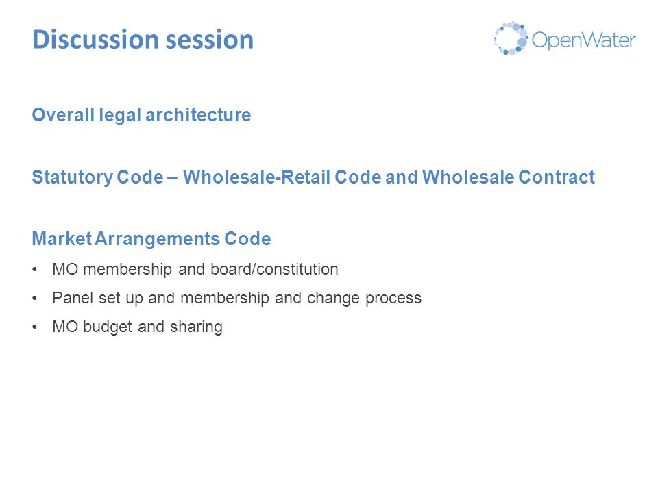 Click to edit Master title Discussion session Overall legal architecture Statutory Code – Wholesale-Retail Code and Wholesale Contract Market Arrangem
