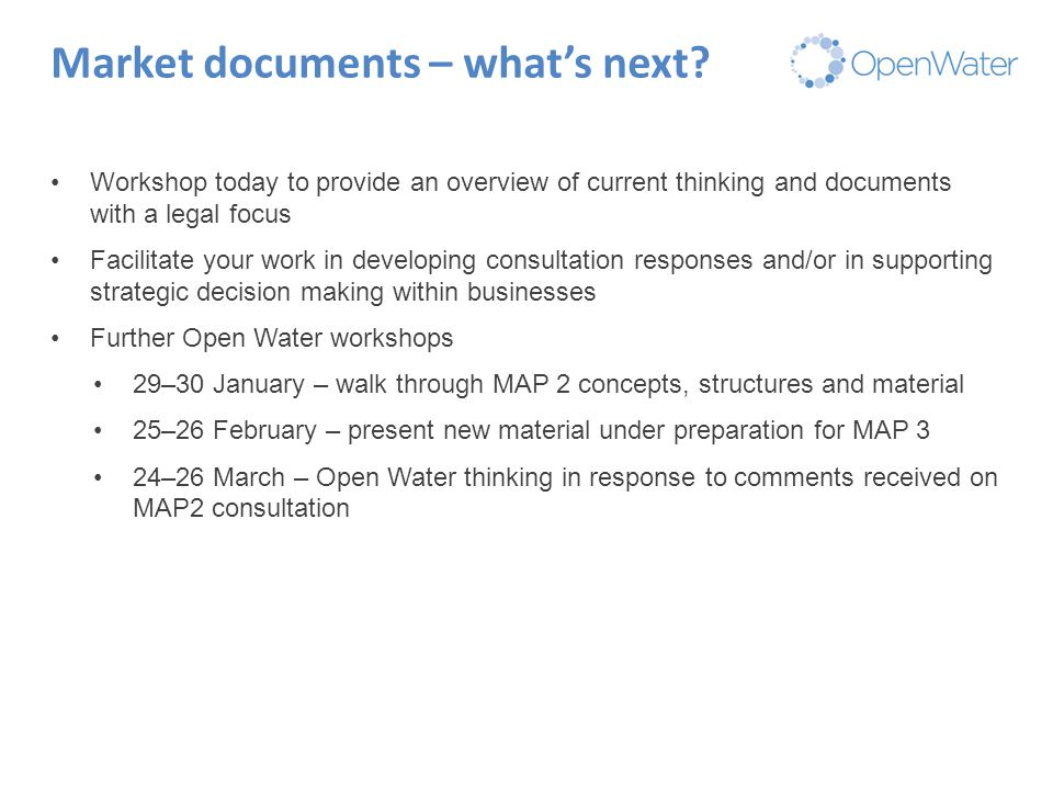 Click to edit Master title Market documents – what's next? Workshop today to provide an overview of current thinking and documents with a legal focus