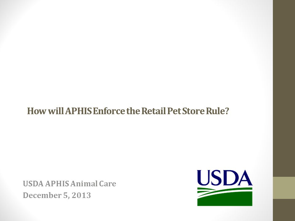 How will APHIS Enforce the Retail Pet Store Rule? USDA APHIS Animal Care December 5, 2013