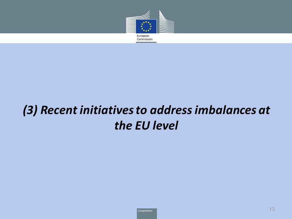 13 (3) Recent initiatives to address imbalances at the EU level