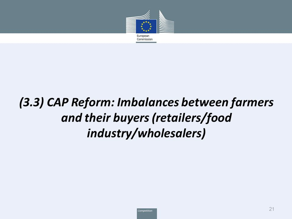 21 (3.3) CAP Reform: Imbalances between farmers and their buyers (retailers/food industry/wholesalers)