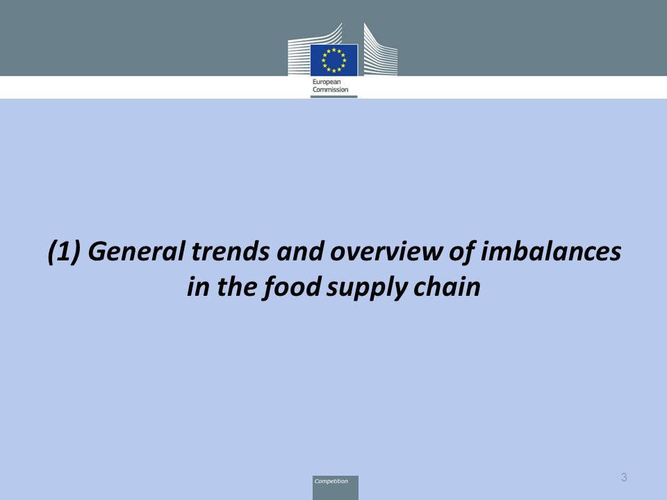 3 (1) General trends and overview of imbalances in the food supply chain