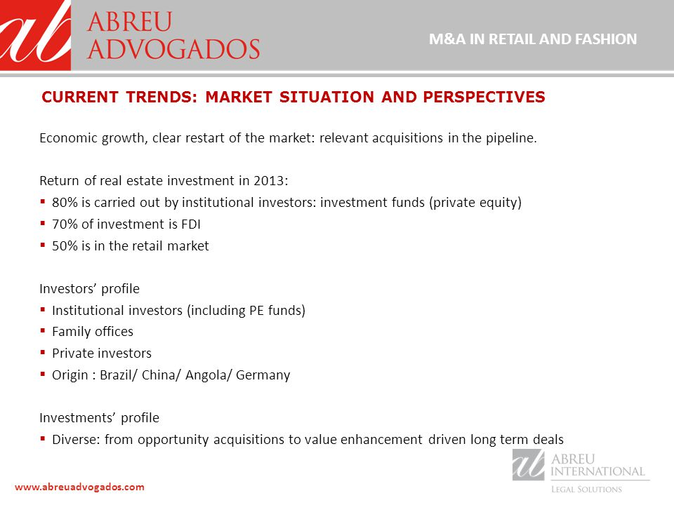 www.abreuadvogados.com Economic growth, clear restart of the market: relevant acquisitions in the pipeline.