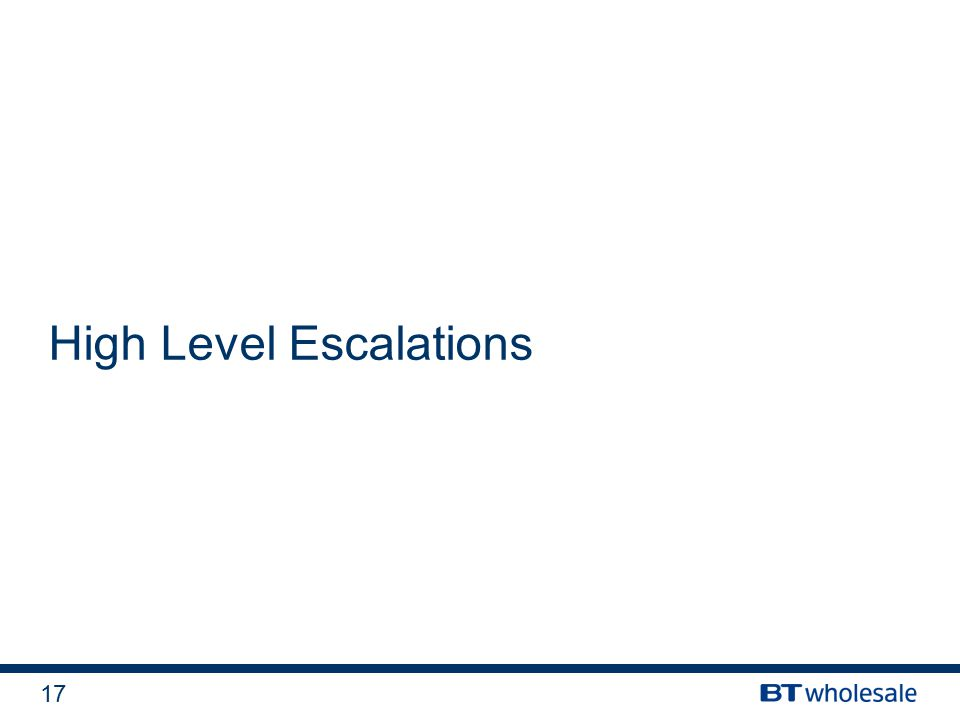 17 High Level Escalations