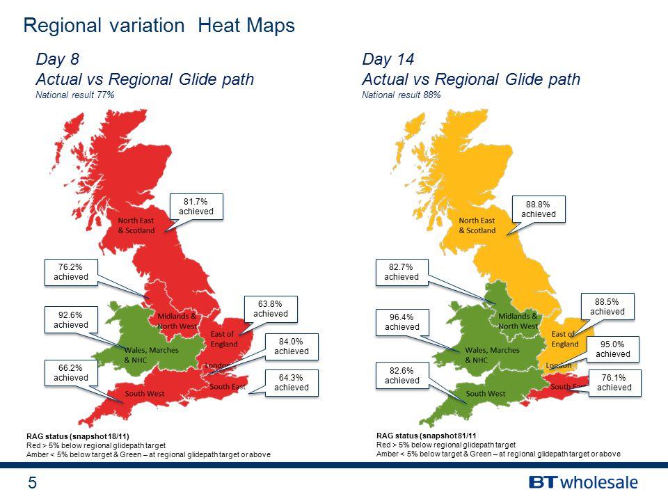5 RAG status (snapshot 18/11) Red > 5% below regional glidepath target Amber < 5% below target & Green – at regional glidepath target or above Regional variation Heat Maps Day 8 Actual vs Regional Glide path National result 77% Day 14 Actual vs Regional Glide path National result 88% 81.7% achieved 63.8% achieved 84.0% achieved 64.3% achieved 76.2% achieved 92.6% achieved 66.2% achieved 88.8% achieved 88.5% achieved 95.0% achieved 76.1% achieved 82.7% achieved 96.4% achieved 82.6% achieved RAG status (snapshot 81/11 Red > 5% below regional glidepath target Amber < 5% below target & Green – at regional glidepath target or above