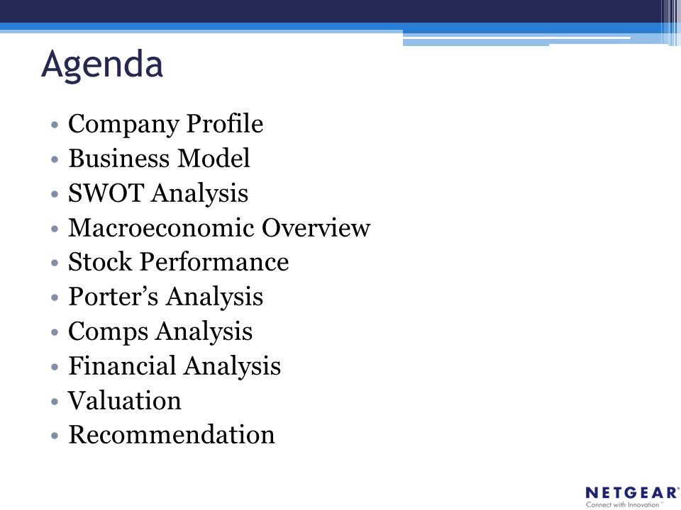 Agenda Company Profile Business Model SWOT Analysis Macroeconomic Overview Stock Performance Porter's Analysis Comps Analysis Financial Analysis Valuation Recommendation
