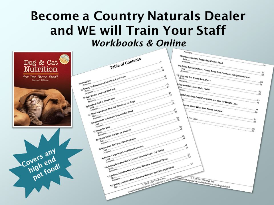 Become a Country Naturals Dealer and WE will Train Your Staff Workbooks & Online