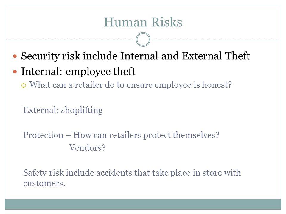 Human Risks Security risk include Internal and External Theft Internal: employee theft  What can a retailer do to ensure employee is honest? External
