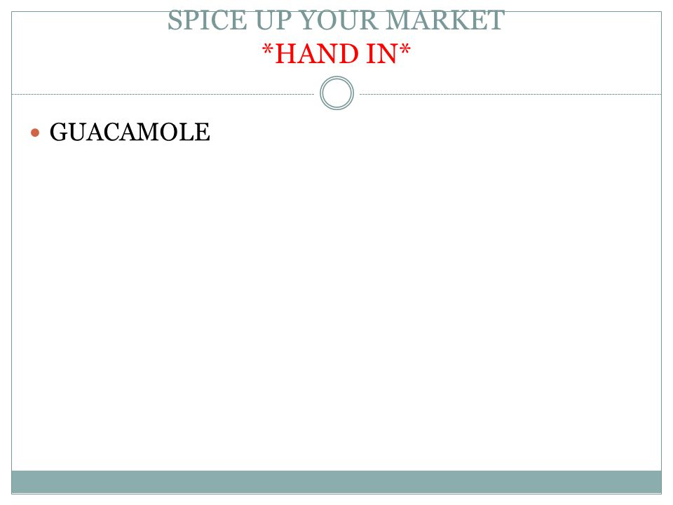 SPICE UP YOUR MARKET *HAND IN* GUACAMOLE