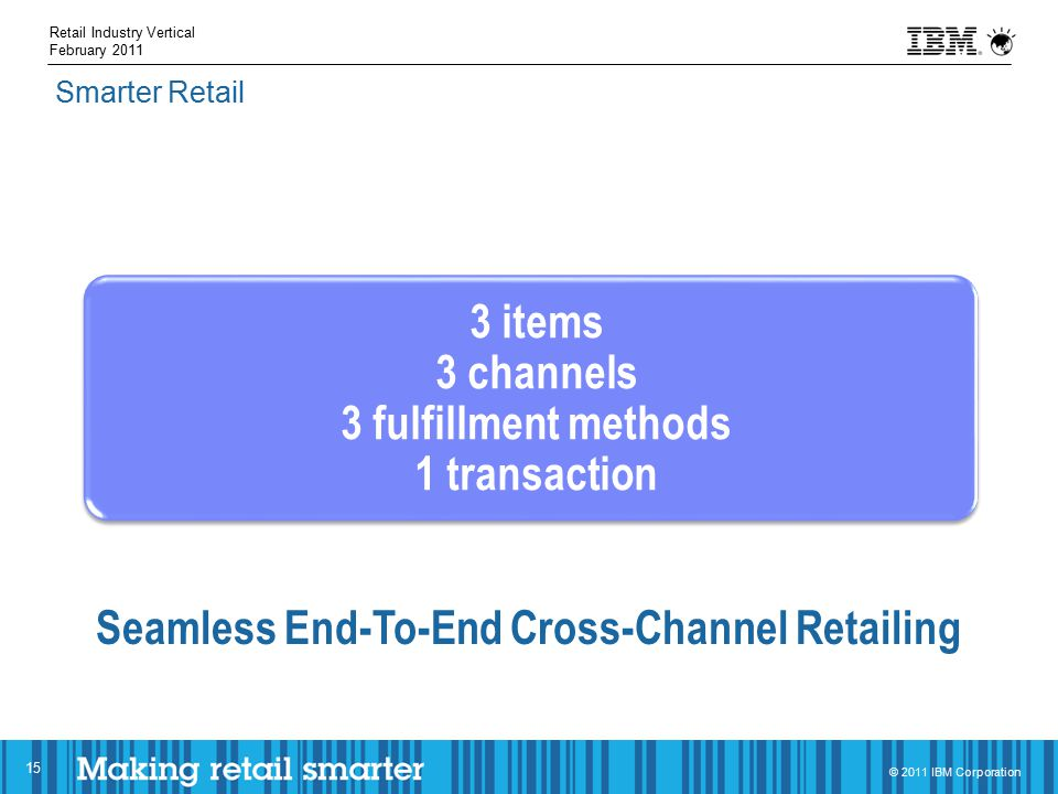 © 2011 IBM Corporation 15 Smarter Retail Retail Industry Vertical February 2011 3 items 3 channels 3 fulfillment methods 1 transaction Seamless End-To-End Cross-Channel Retailing