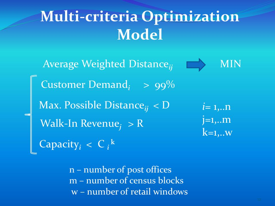 Multi-criteria Optimization Model Average Weighted Distance ij MIN Max.