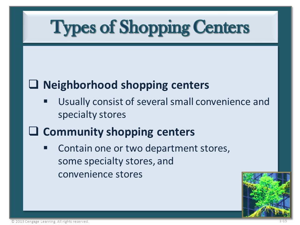 1-15  Neighborhood shopping centers  Usually consist of several small convenience and specialty stores  Community shopping centers  Contain one or