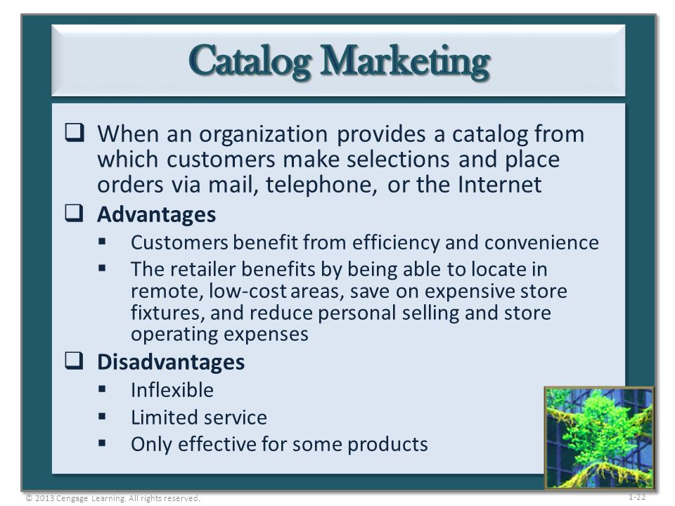 1-22  When an organization provides a catalog from which customers make selections and place orders via mail, telephone, or the Internet  Advantages