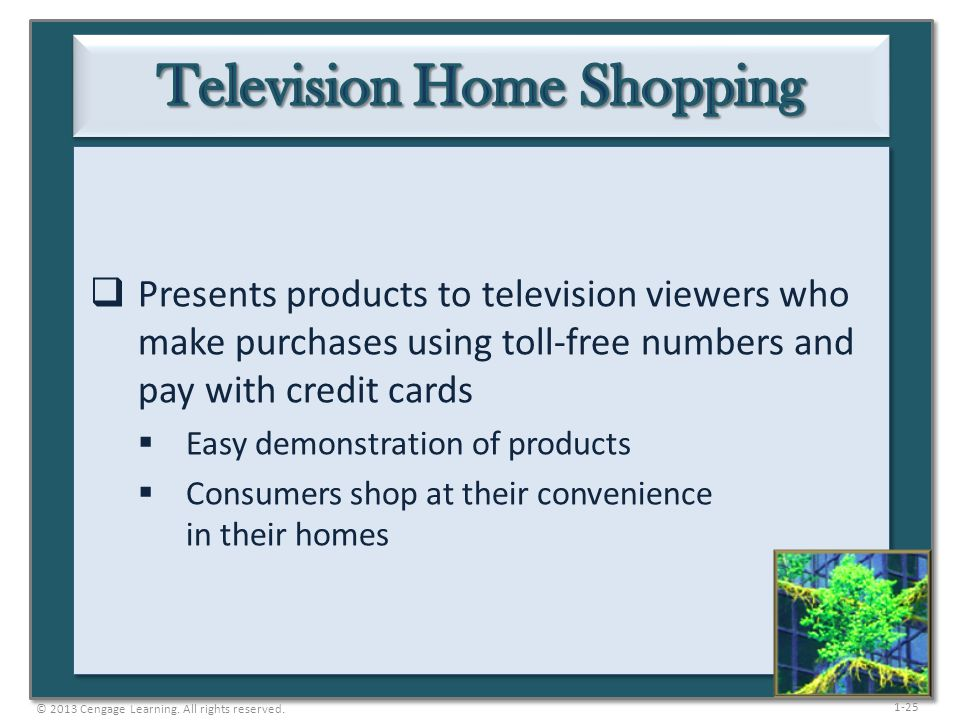 1-25  Presents products to television viewers who make purchases using toll-free numbers and pay with credit cards  Easy demonstration of products 