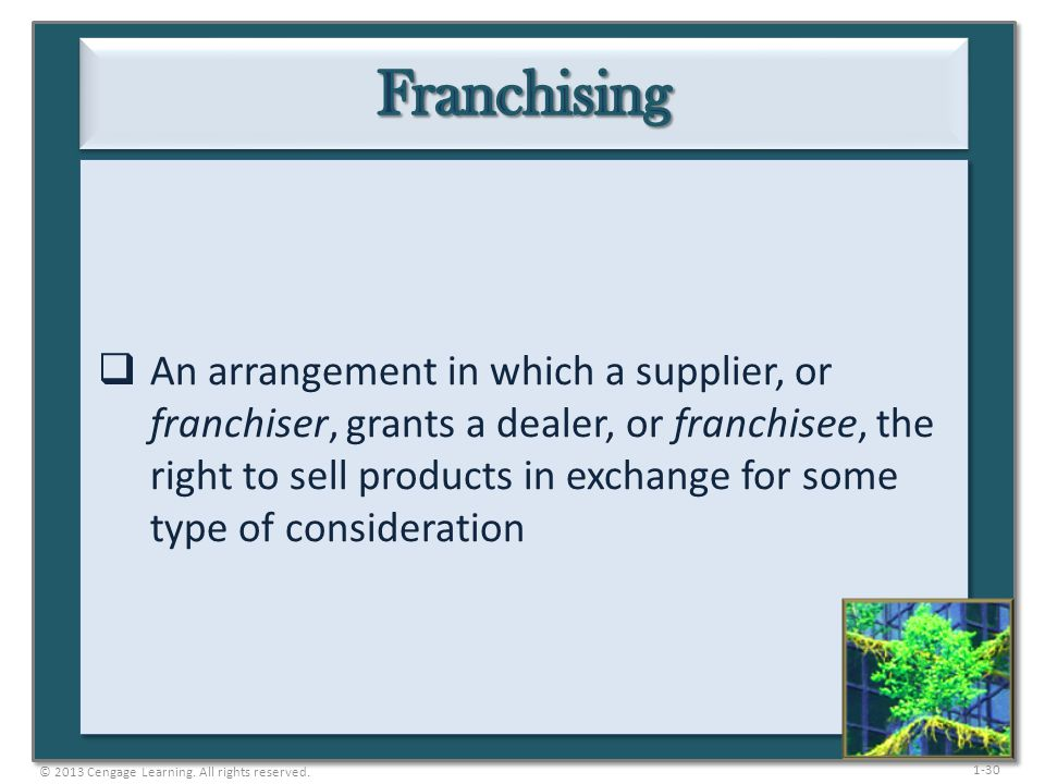 1-30  An arrangement in which a supplier, or franchiser, grants a dealer, or franchisee, the right to sell products in exchange for some type of cons