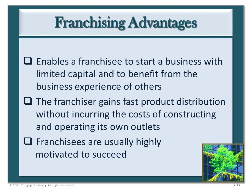 1-31  Enables a franchisee to start a business with limited capital and to benefit from the business experience of others  The franchiser gains fast