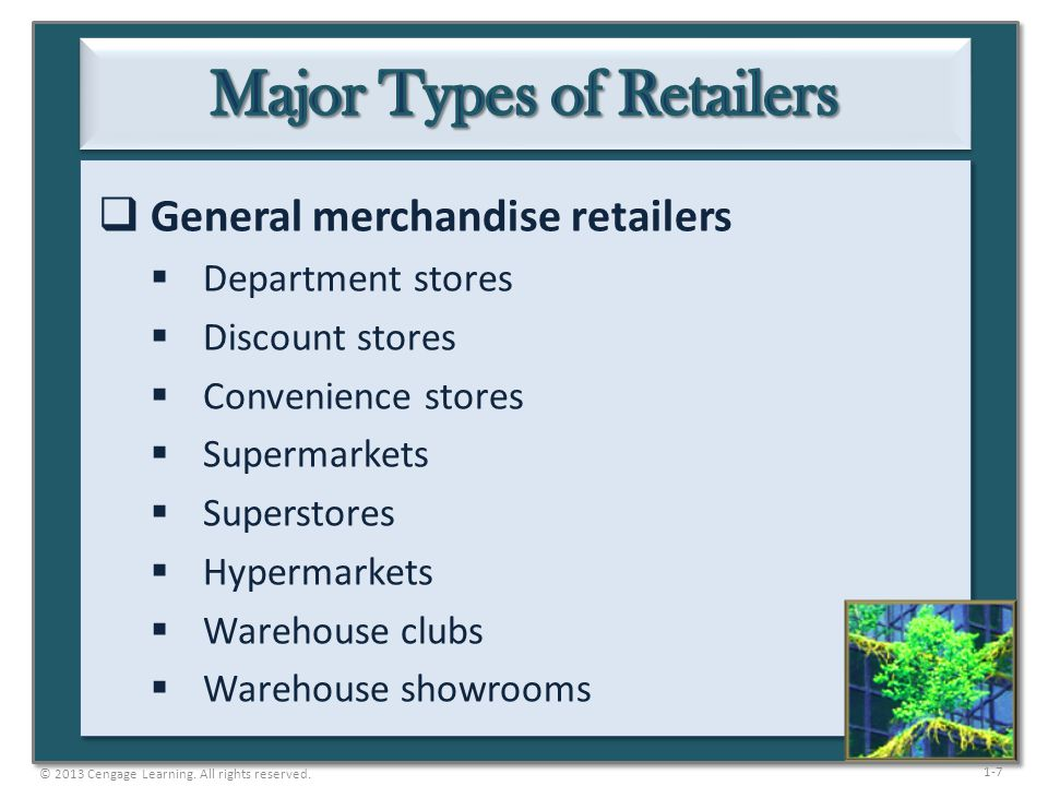 1-7  General merchandise retailers  Department stores  Discount stores  Convenience stores  Supermarkets  Superstores  Hypermarkets  Warehouse
