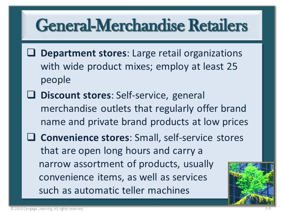 1-8  Department stores: Large retail organizations with wide product mixes; employ at least 25 people  Discount stores: Self-service, general mercha