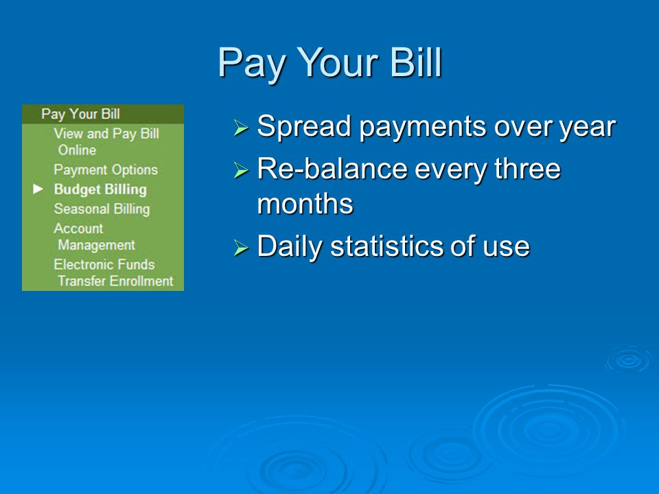 Pay Your Bill  Spread payments over year  Re-balance every three months  Daily statistics of use