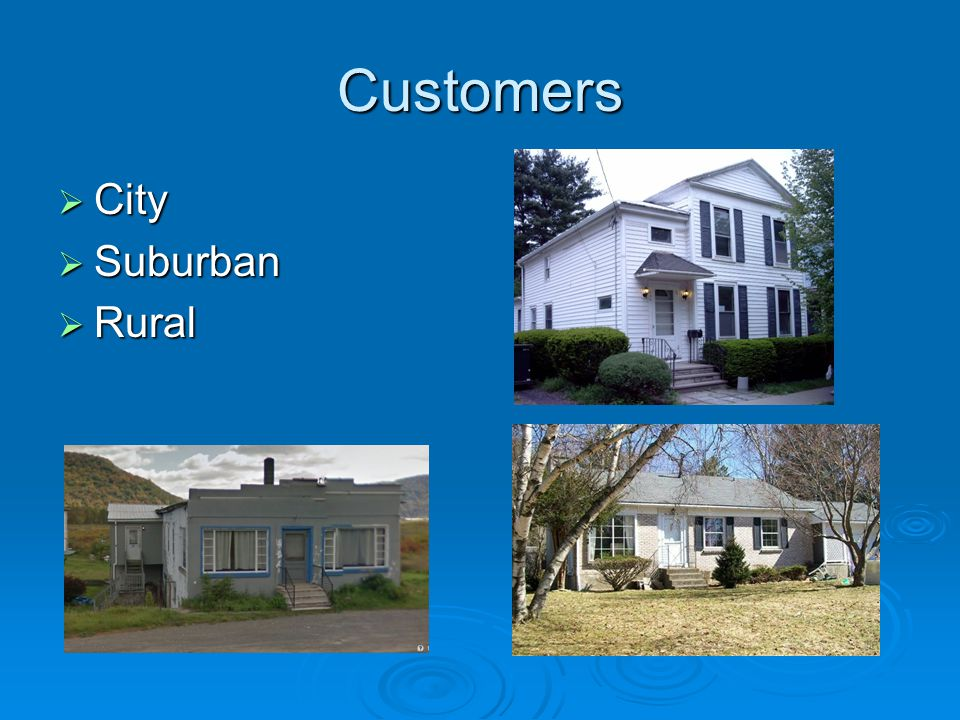 Customers  City  Suburban  Rural