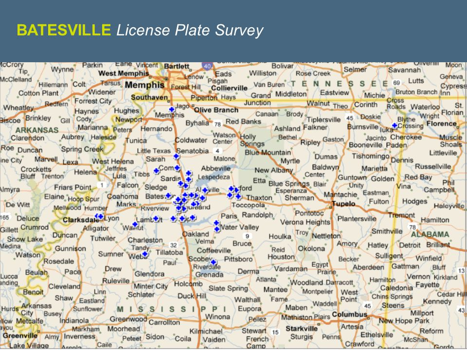 WE KNOW RETAIL BATESVILLE License Plate Survey