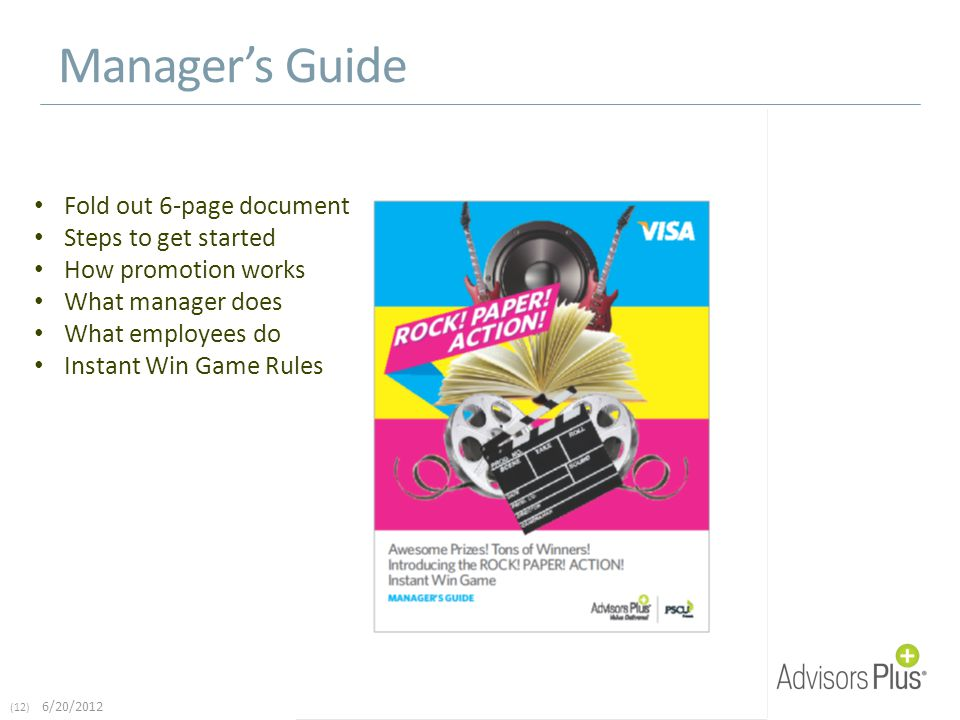 (12) 6/20/2012 Manager's Guide Fold out 6-page document Steps to get started How promotion works What manager does What employees do Instant Win Game Rules