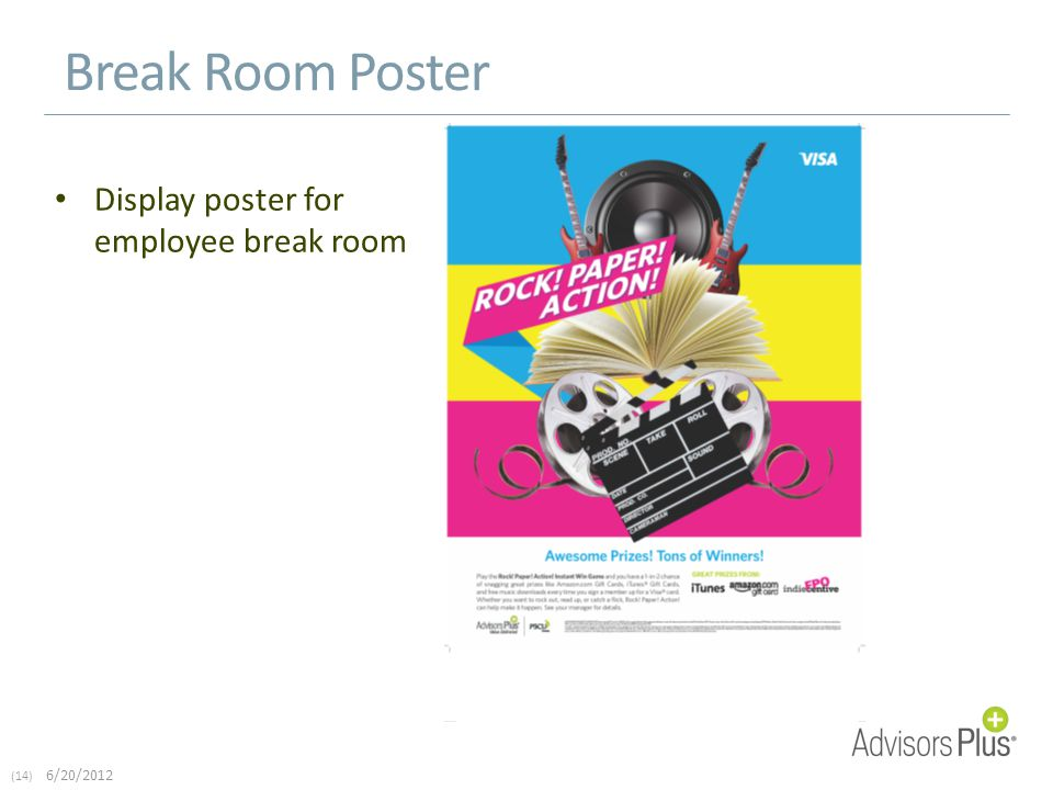 (14) 6/20/2012 Break Room Poster Display poster for employee break room