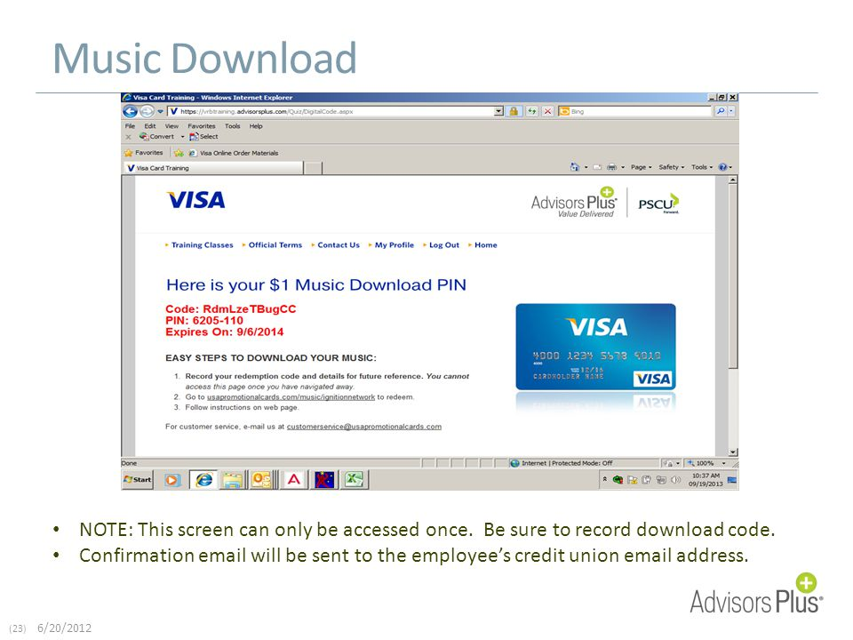 (23) 6/20/2012 Music Download NOTE: This screen can only be accessed once.