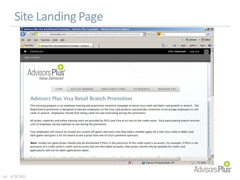 (26) 6/20/2012 Site Landing Page