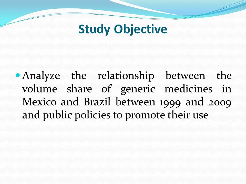 Study Design Setting: Brazil and Mexico retail market Methodology: Time Series Analysis of the retail pharmaceutical market volume between 1999-2009 (IMS Health data).
