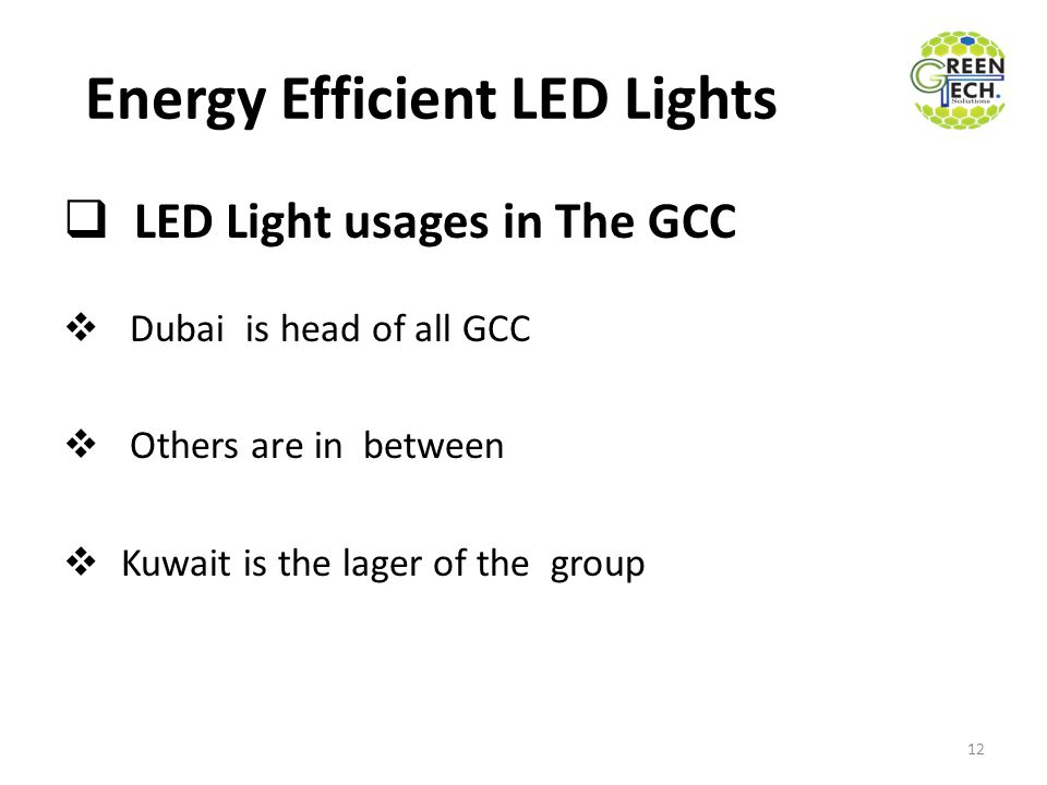 Energy Efficient LED Lights  LED Light usages in The GCC  Dubai is head of all GCC  Others are in between  Kuwait is the lager of the group 12