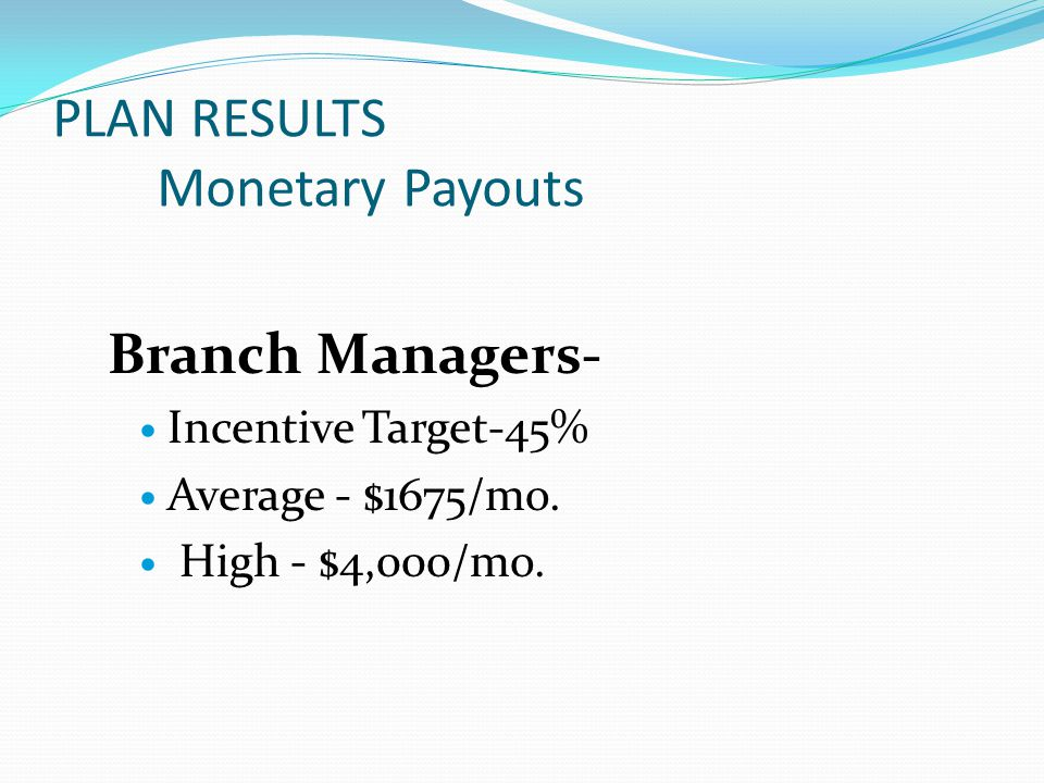 Branch Managers- Incentive Target-45% Average - $1675/mo.