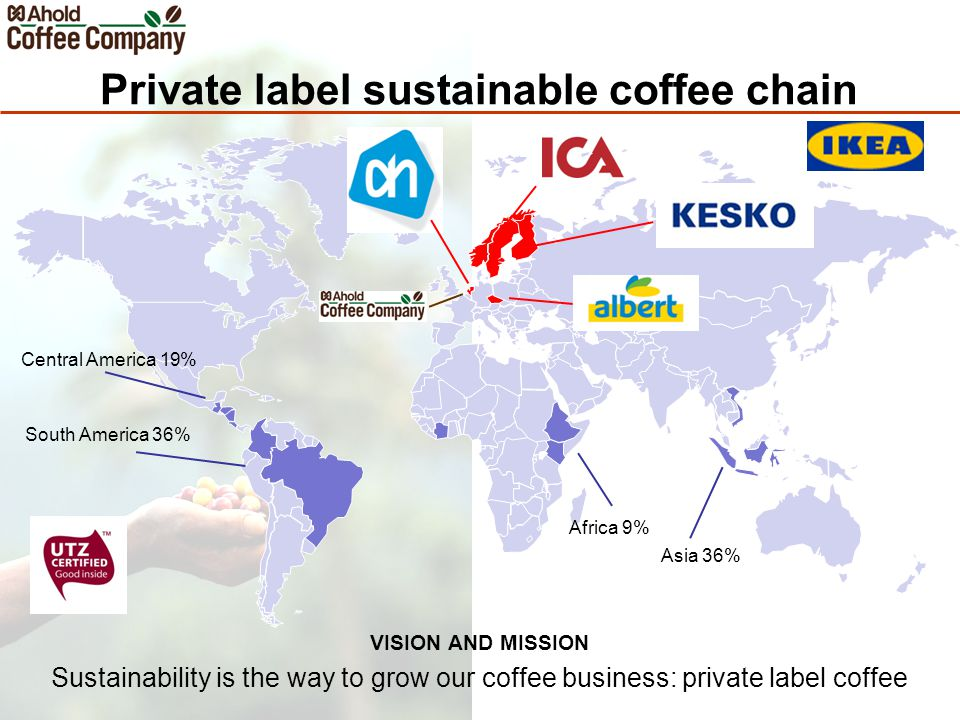 Private label sustainable coffee chain VISION AND MISSION Sustainability is the way to grow our coffee business: private label coffee Africa 9% Asia 36% Central America 19% South America 36%