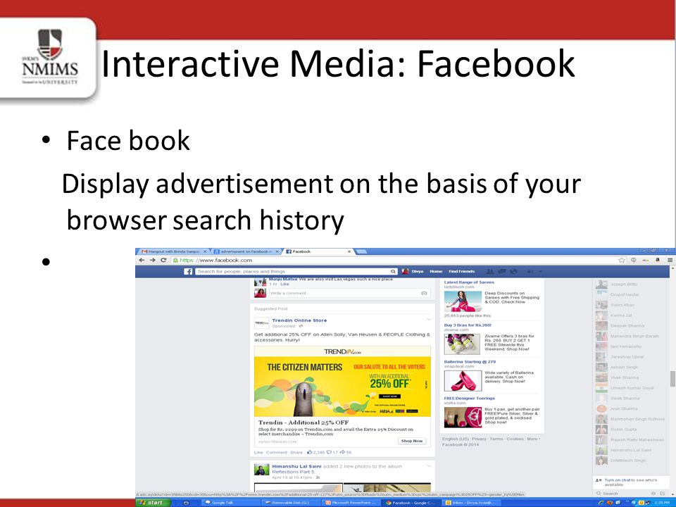 Face book Display advertisement on the basis of your browser search history Interactive Media: Facebook