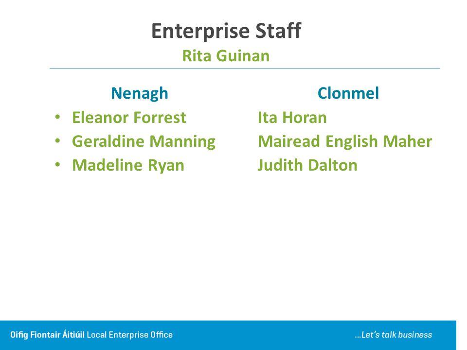 Enterprise Staff Rita Guinan Nenagh Eleanor Forrest Geraldine Manning Madeline Ryan Clonmel Ita Horan Mairead English Maher Judith Dalton