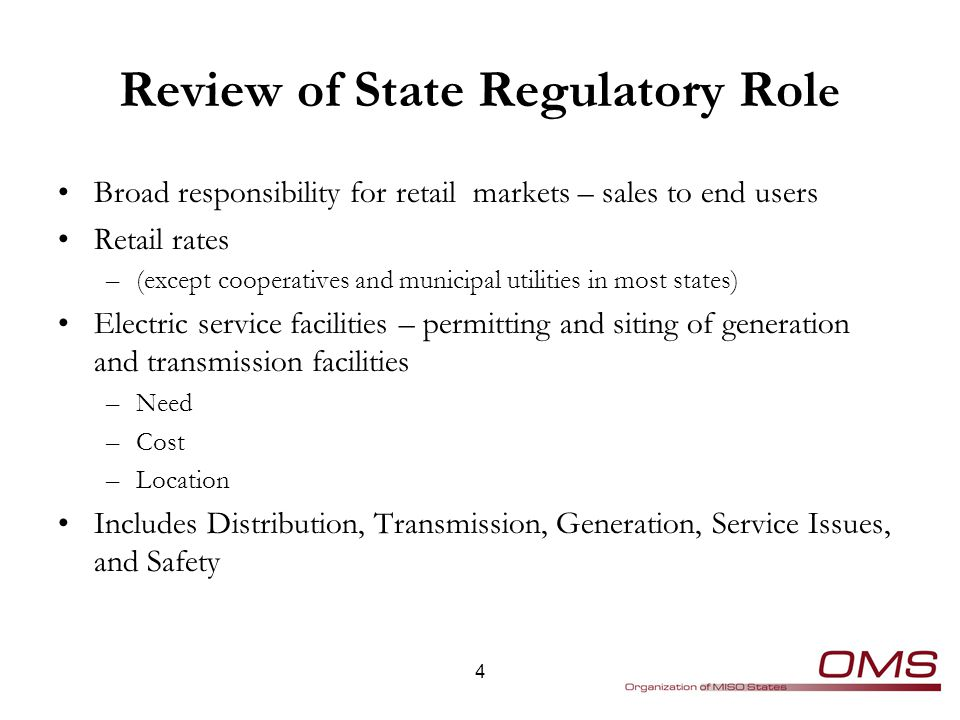 Typical Retail Regulatory Issues – Traditionally Regulated State Market structure Portfolio Decisions Resource and Transmission Planning Renewable Portfolio Standards Purchase Contracts PURPA and Feed-in Tariffs Demand Response; aggregation Smart Grid, Metering and Net Metering Service Area Boundaries Permits, Siting, Certificates of Need 5