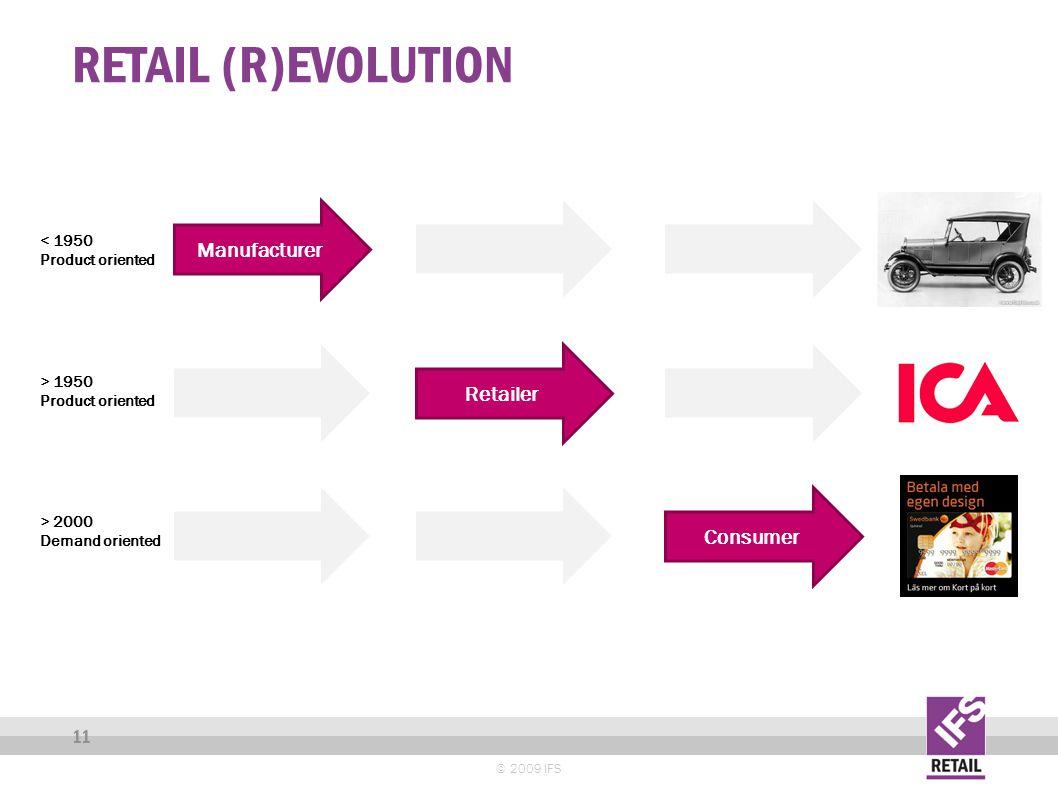 RETAIL (R)EVOLUTION © 2009 IFS 11 Manufacturer Consumer Retailer < 1950 Product oriented > 1950 Product oriented > 2000 Demand oriented